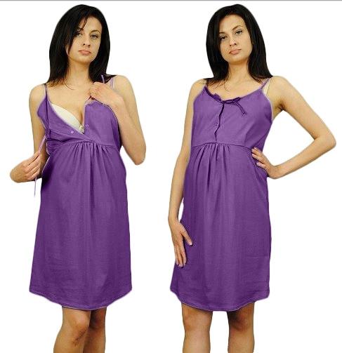 Tehotenská nočná košeľa na ramienka - fialová