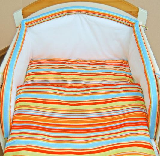 Mantinel s obliečkami - Prúžok pomaranč 135x100