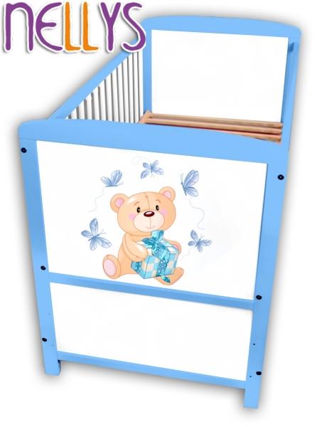 Drevená postieľka Nellys modrá s Míšom, 140x70