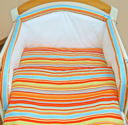 Mantinel s obliečkami - Prúžok pomaranč 140x70
