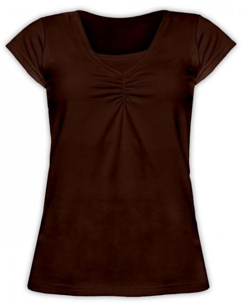JOŽÁNEK Dojčiace, tehotenské tričko KARIN - čokohnědé