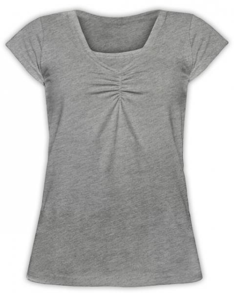 Dojčiace tehotenské tričko KARIN - šedý melír
