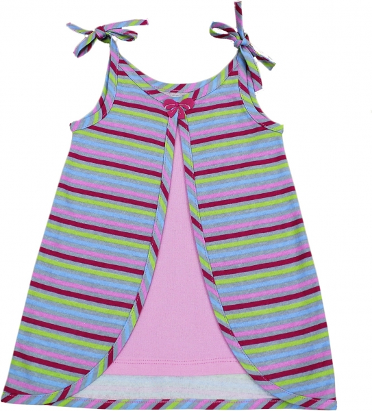 Šatôčky na ramienko Nicol - PRÚŽKY, ružové prúžky, VÝPREDAJ-68 (4-6m)