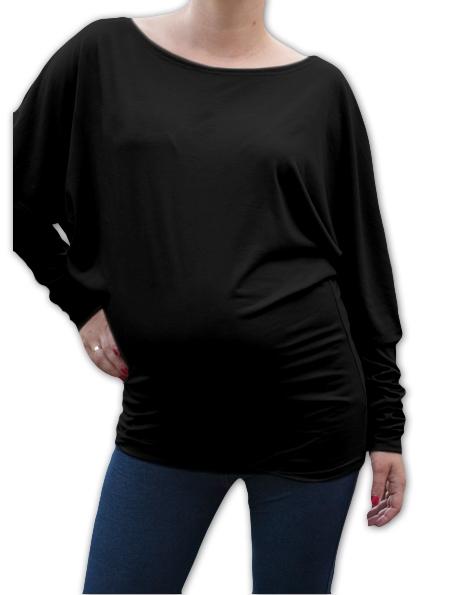 Symetrická tehotenská tunika - čierna
