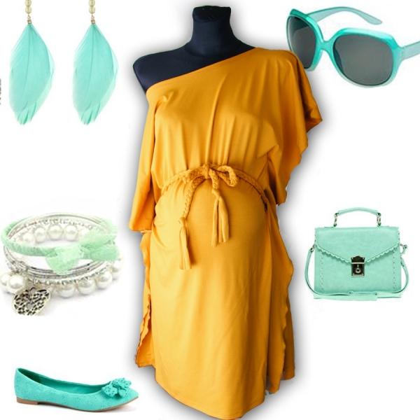 Tehotenská tunika/kimono Motýl - horčicovožltá