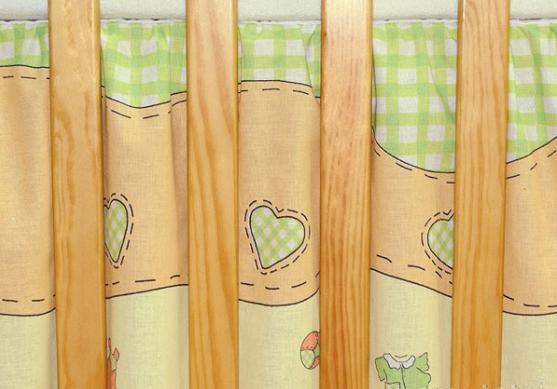 Krásny volánik pod matrac - Bocian zelený, 120x60 cm