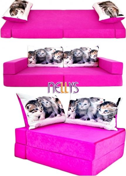 Rozkladacia detská pohovka 3 v 1 - P18 - Mačičky v ružovej