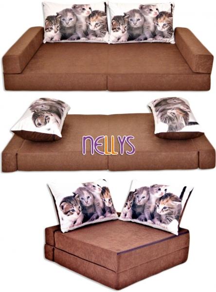 Rozkladacia detská pohovka 3 v 1 - P23 - Mačičky v hnedej