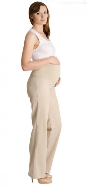 Ľanové nohavice, rovné - letné - béžové