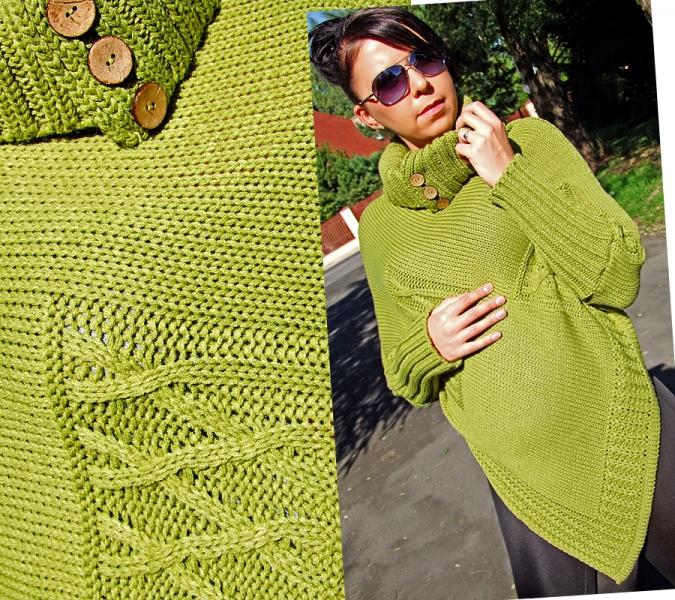 Pletené pončo MONIKA - zelené