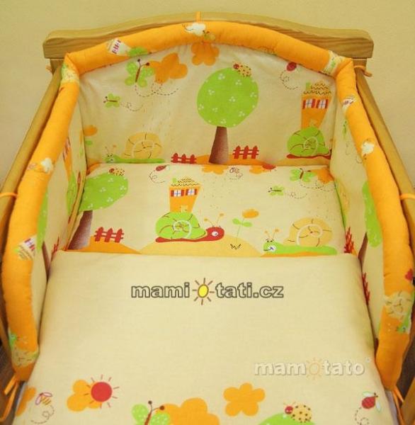 Mantinel do postieľky - Slimák pomaranč, 120x60