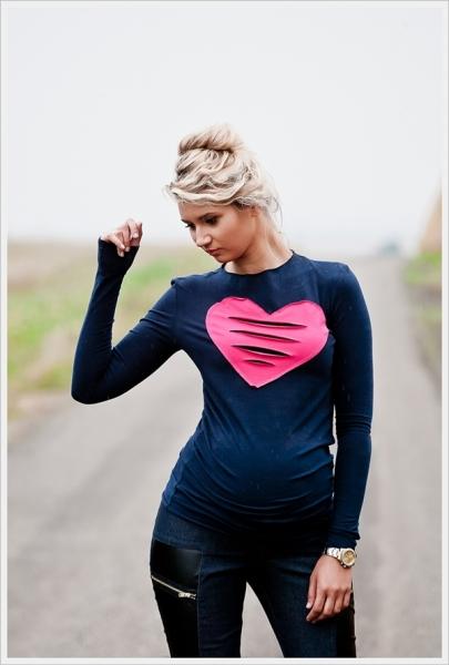 Tehotenské tričko dlhý rukáv HEART - granát