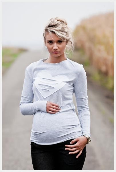 Tehotenské tričko dlhý rukáv HEART - sv. šedé