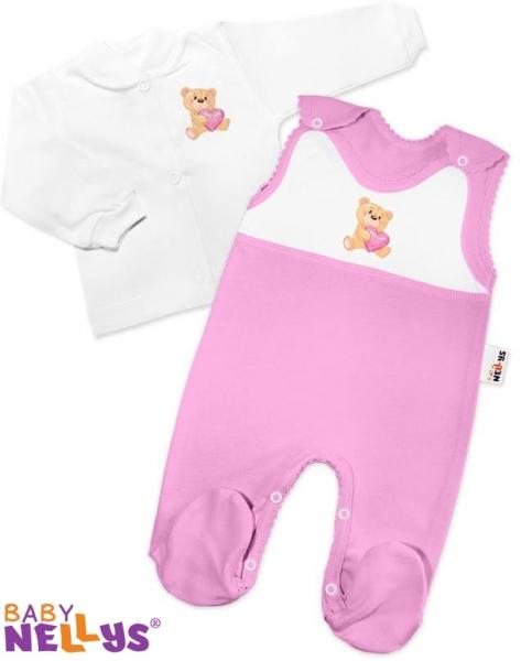 Košieľka a dupačky Baby Nellys - Macko ružový