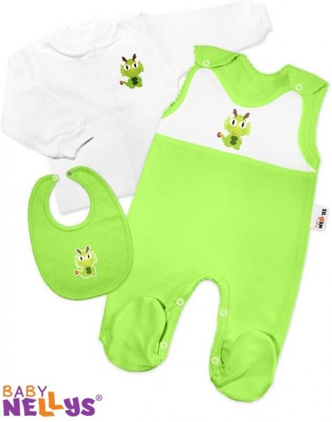 Košieľka, dupačky, podbradník Baby Nellys - dráčik zelený
