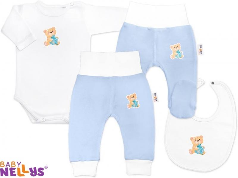 4D sada koj. oblečenie Baby Nellys® - Medvedík darček sv. modrý