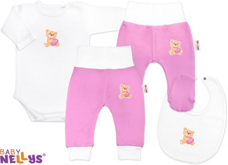 4D sada koj. oblečenie Baby Nellys® - Medvedík srdiečko ružová-86 (12-18m)