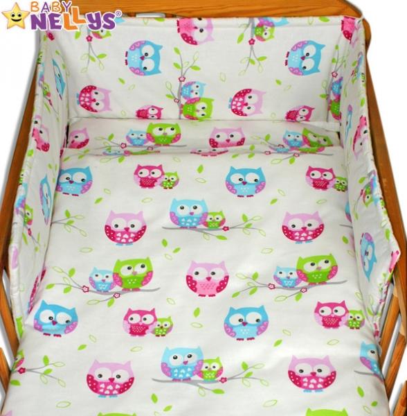 Mantinel s obliečkami 135x100 - Sovičky - ružovomodré