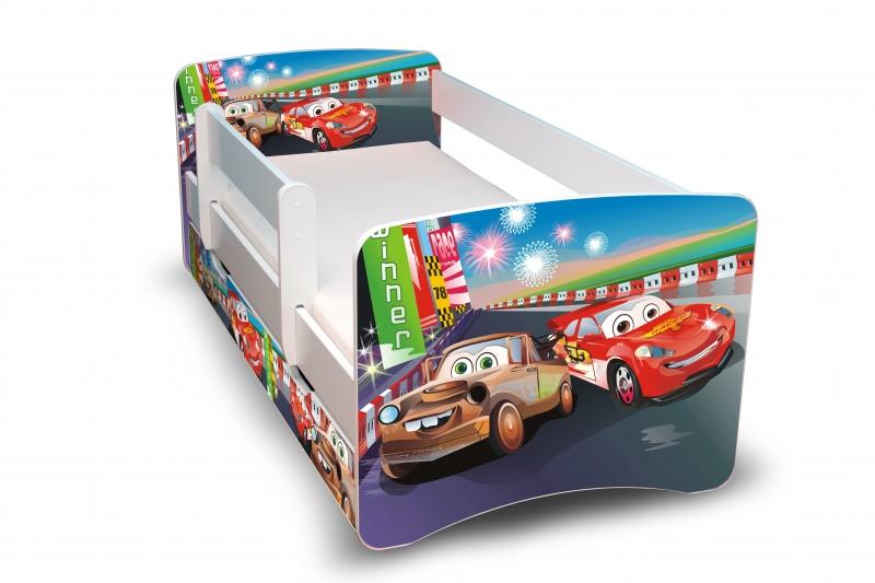 NELLYS Detská posteľ s bariérky a zásuvkou Filip - Autá 2 II. - 180x80 cm