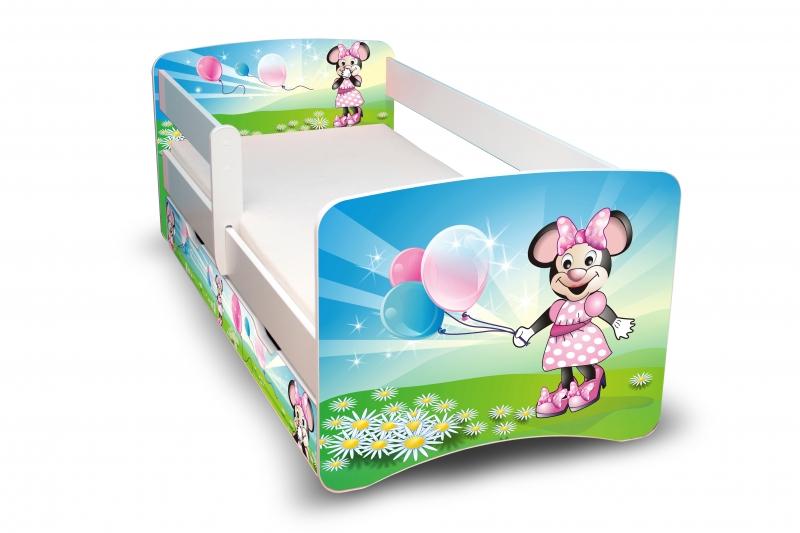 Detská posteľ s bariérkou a zásuvkou - Myška s balónikom II. - 180x80 cm
