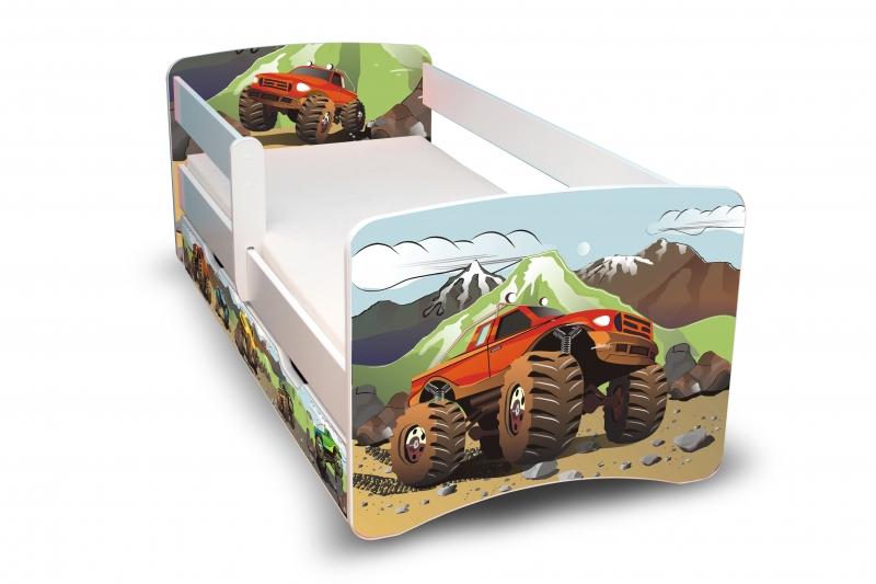 Detská posteľ s bariérkou a zásuvkou Filip - Autá II. - 180x90 cm