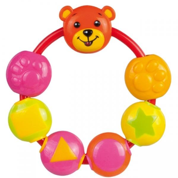 Hrkálka Canpol Babies - Medvedík oranž / ružový