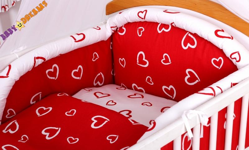 Mantinel s obliečkami - Srdiečka červená / biela