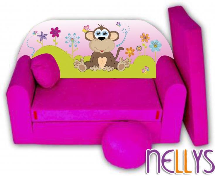 Rozkladacia detská pohovka Opička Nellys na lúke