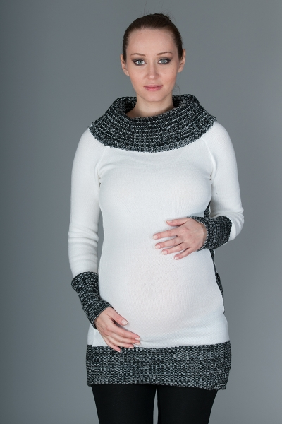 Tehotenský pulóver/tunika Carmen - biela s melírom