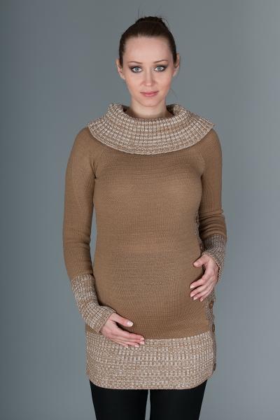 Tehotenský svetrík / tunika Carmen - karamelovo hnedá s melírom