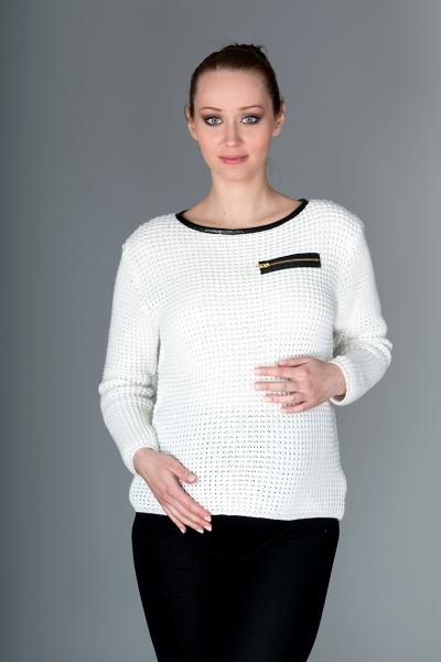 Be MaaMaa Tehotenský svetrík Molly s ozdobným lemom - biela
