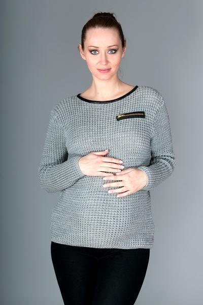 Be MaaMaa Tehotenský svetrík Molly s ozdobným lemom - sivý