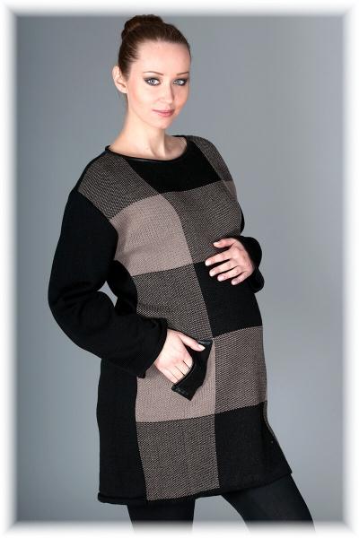 Tehotenský tunika / šaty OLIVIE - kocka Mocca