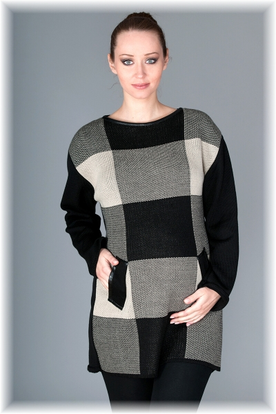 Tehotenský tunika / šaty OLIVIE - kocka béžová