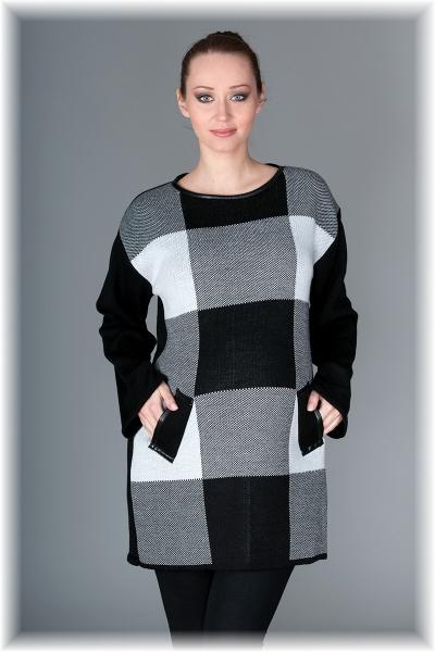 Tehotenský tunika / šaty OLIVIE - kocka sivá