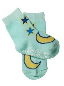 Protišmykové bavlnené ponožky Baby Ono 6-12m - tyrkys hviezdičky a nechtík