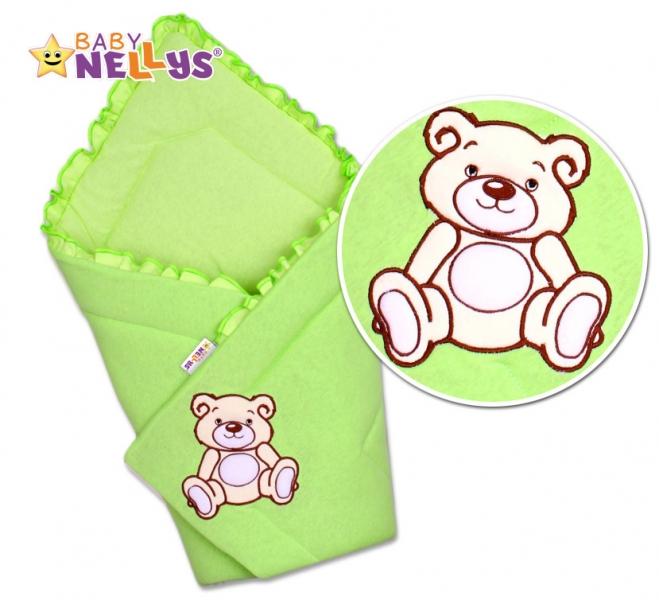 Zavinovačka Baby Nellys - Medvídek Teddy - jersey - zelený