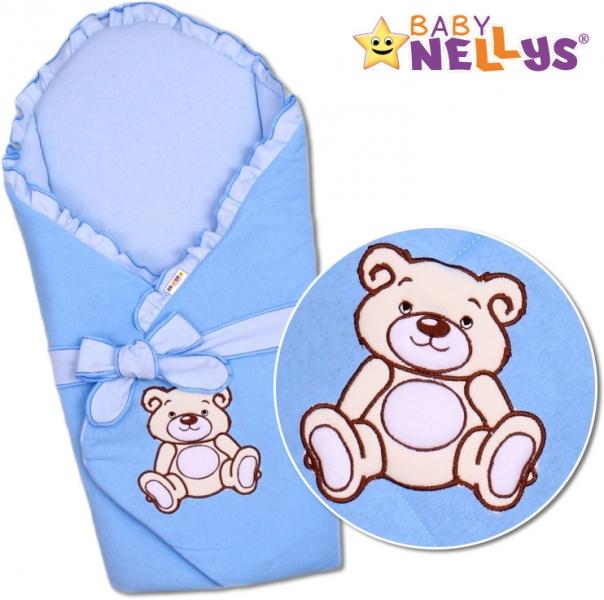 Zavinovačka s výztuží Baby Nellys - Medvídek Teddy - jersey - modrá