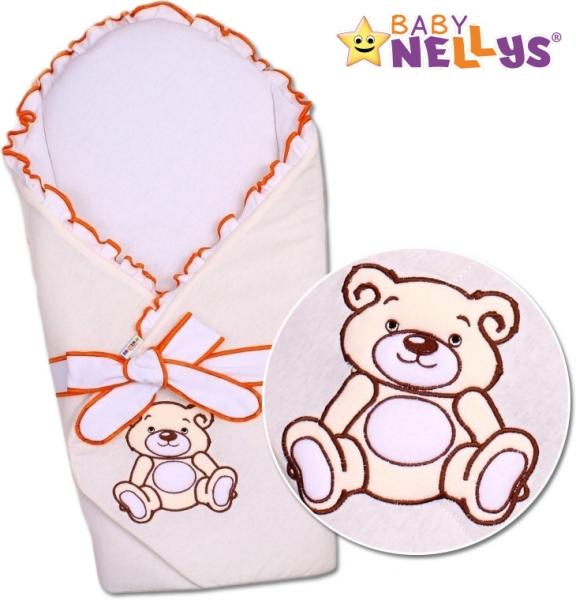 Zavinovačka s výztuží Baby Nellys - Medvídek Teddy - jersey - jersey - smotanová