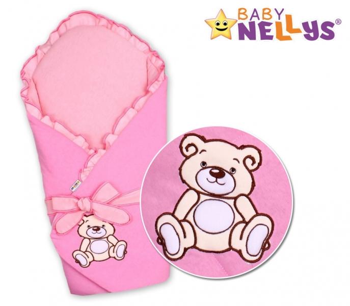 Zavinovačka s výztuží Baby Nellys - Medvídek Teddy - jersey - ružová