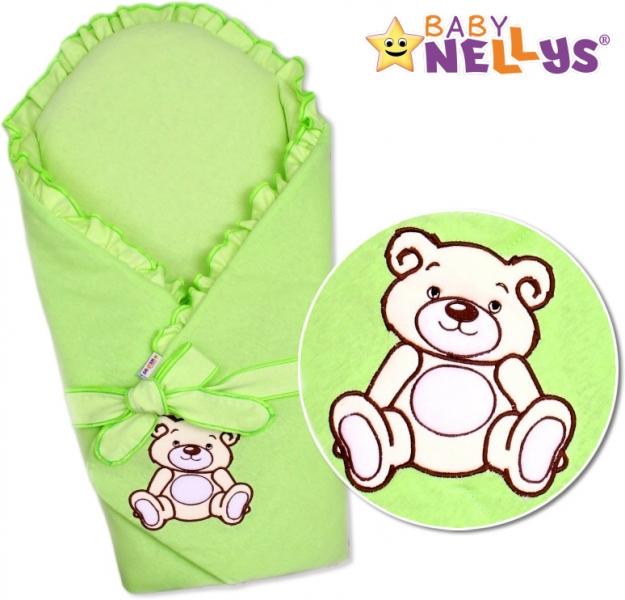 Zavinovačka s výztuží Baby Nellys - Medvídek Teddy - jersey - zelená
