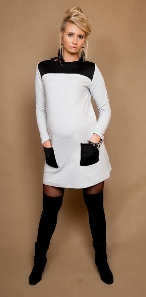 Be MaaMaa Tehotenské šaty / tunika Lizzy dl. rukáv - sivý melírek / čierne