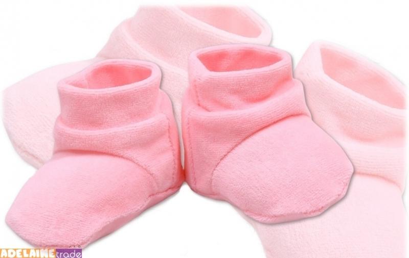 TERJAN Topánočky / ponožtičky VELUR - sv. ružové