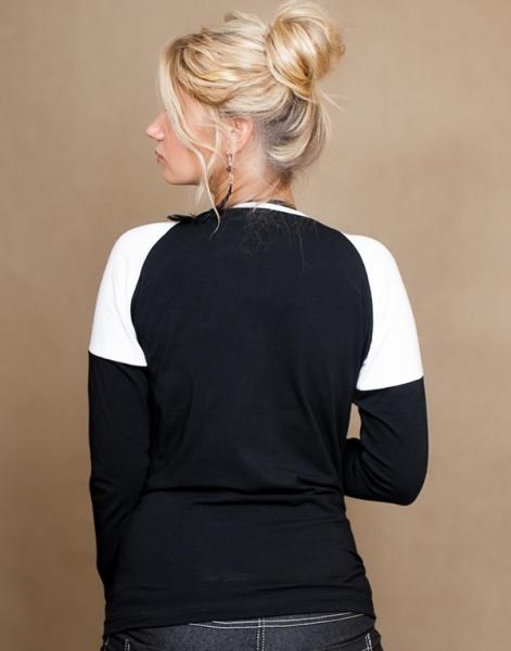 Tehotenské tričko dlhý rukáv Viva - čierna/biela