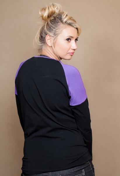 Tehotenské tričko dlhý rukáv Viva - čierna/fialová