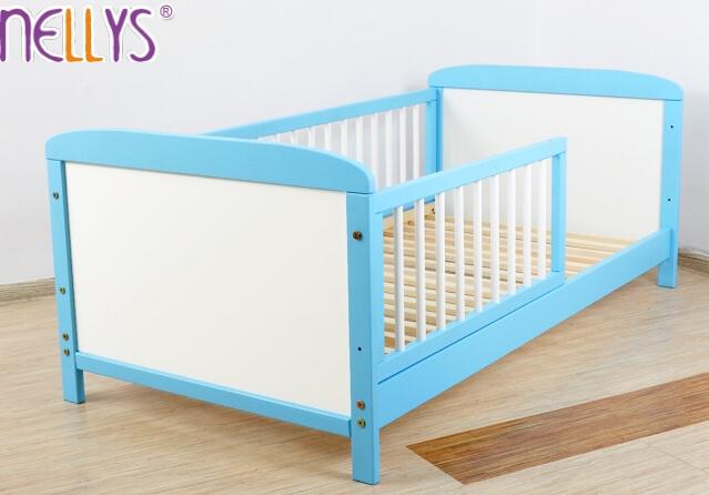 Detská juniorská posteľ / postieľka Nellys - modrá / biela-140x70