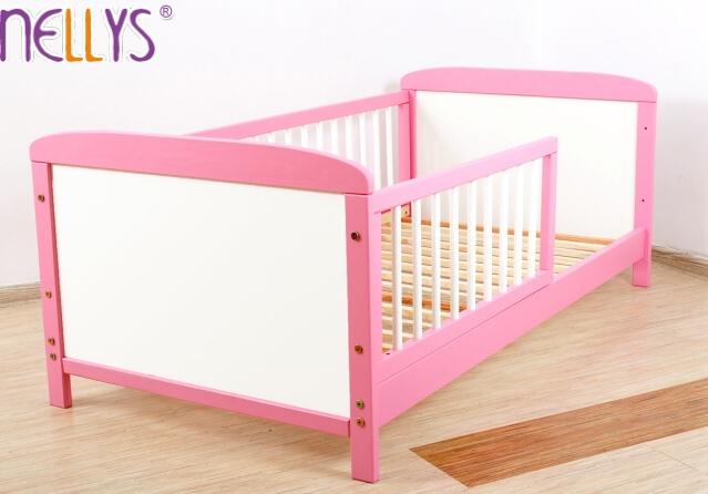 Detská juniorská posteľ / postieľka Nellys - ružová / biela-140x70