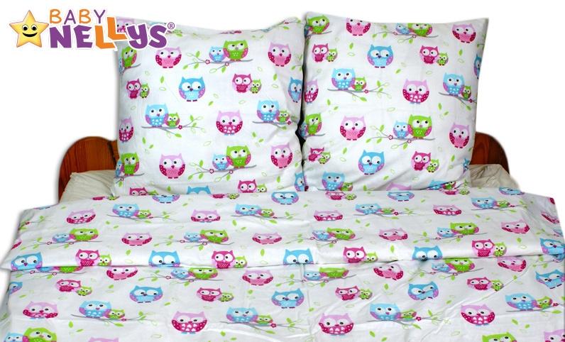 Bavlnené obliečky 140x200/70x90 - Sovičky ružovomodré