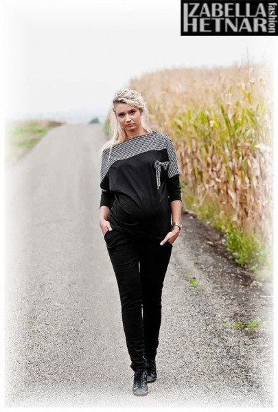 Be MaaMaa Tehotenské nohavice Kaja - čierne