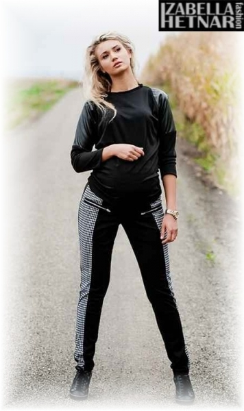 Tehotenské nohavice XENIA - sivé / grafit